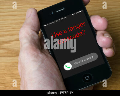 Concept image - Following the disclosure of the GrayKey iPhone unlocker it's recommended to use longer, stronger passcodes / passwords. - Stock Image