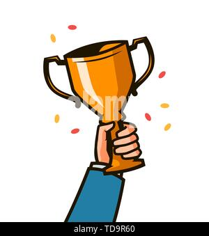 Gold cup in hands. Hand holding winner trophy award. Vector Illustration - Stock Image