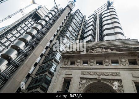 Bowellism architecture, iconic london skyscrapers, Inside-Out Building, insurance, london financial district, London uk, Loyds Building, Loyd's Building, The Leadenhall Building - Stock Image