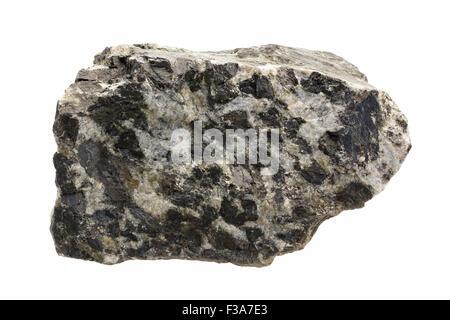 Gabbro pegmatite with slightly altered composition (augite has metamorphosed to hornblende) - Stock Image