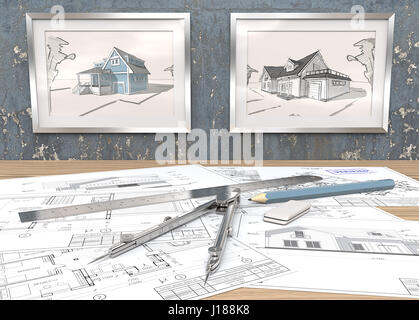 2 Metal Picture Frames on blue worn concrete Wall with house sketches. Generic Architectural blueprints on table. - Stock Image