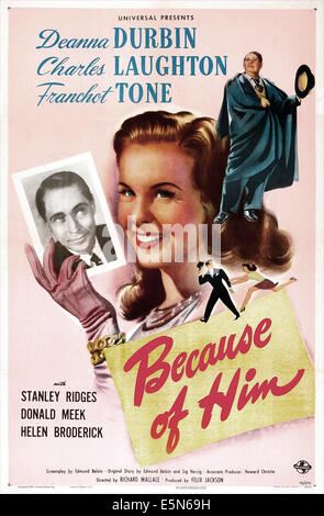 BECAUSE OF HIM, Franchot Tone, Deanna Durbin, 1946 - Stock Image