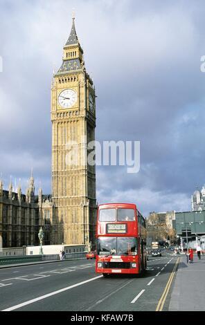 United Kingdom England London Westminster Bridge And Big Benb - Stock Image