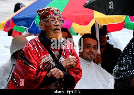 Philadelphia, USA. 08th Sep, 2018. Cosmic and experimental jazz ensemble Sun Ra Arkestra, conducted by the 94 year old Marshall Allen, performs in Philadelphia, PA, on September 8, 2018. Credit: PhotograPHL/Alamy Live News - Stock Image