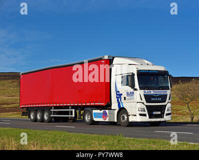 Slam Transport of Coventry HGV. M6 Motorway Southbound carriageway, Shap, Cumbria, England, United Kingdom, Europe. - Stock Image