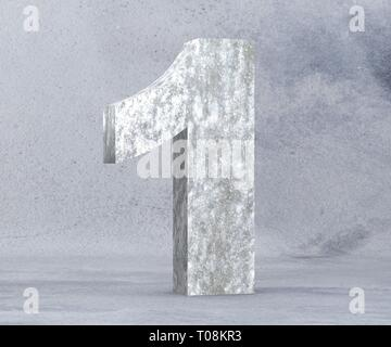 3D rendering concrete number 1 one. 3D render Illustration. - Stock Image