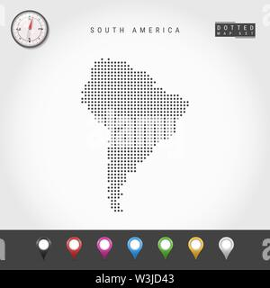 Dots Map of South America. Simple Silhouette of South America. Realistic Vector Compass. Set of Multicolored Map Markers. Vector Illustration. - Stock Image