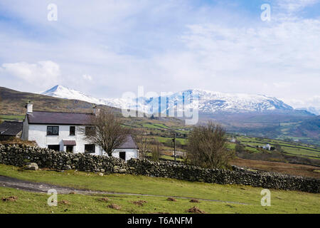 Farmhouse on Welsh hillfarm in hills of northern Snowdonia National Park. Bethesda, Gwynedd, north Wales, UK, Britain - Stock Image