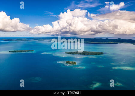 Aerial View of Balgai Bay, Lissenung, New Ireland, Papua New Guinea - Stock Image