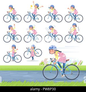 A set of Childminder women on a road bike.There is an action that is enjoying.It's vector art so it's easy to edit. - Stock Image