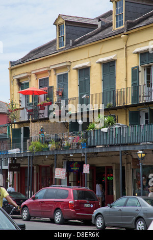 Typical street in French Quarter, Louisiana, USA - Stock Image