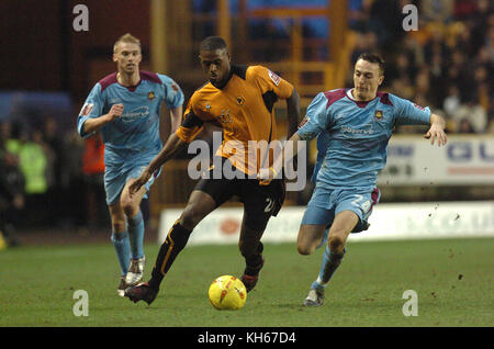 Footballer Carl Cort and Mark Noble Wolverhampton Wanderers v West Ham United 15 January 2005 - Stock Image