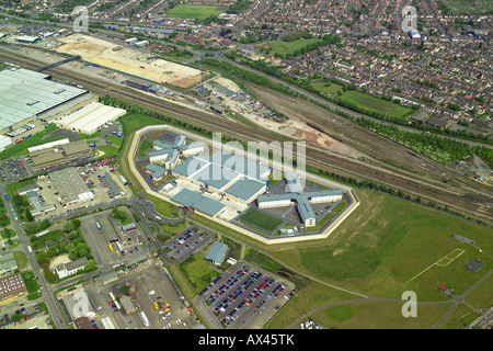 Aerial view of Peterborough Prison showing it's proximity to local housing & industrial estates, also known - Stock Image