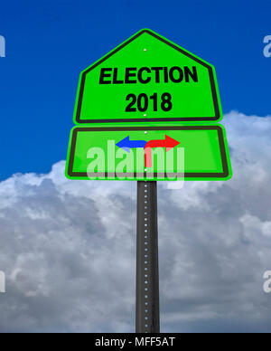 conceptual sign election 2018 left or right over dramatic  blue sky - Stock Image