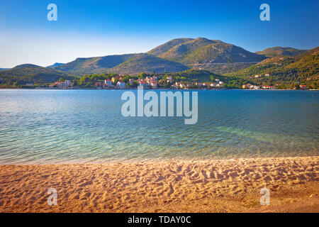 Idyllic beach and landscape in Slano, Dubrovnik archipelago of Croatia - Stock Image