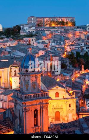 Ragusa at dusk, Sicily, Italy - Stock Image