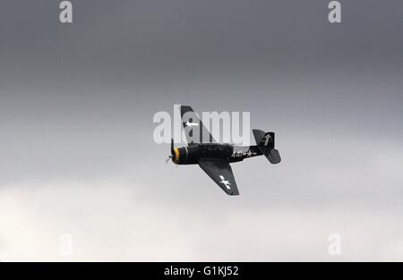 Grumman TBM Avenger, US Navy torpedo bomber, historic airplane in the air at Tyabb airshow, Australia. - Stock Image