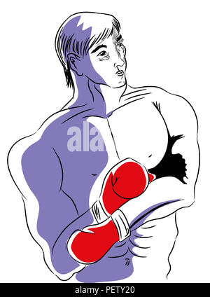 Boxer.  illustration of boxer on the boxing ring and very tired - Stock Image