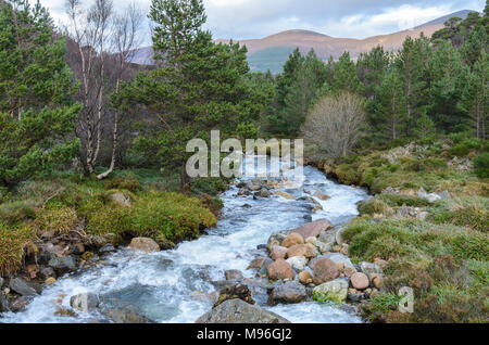RIver flowing down the side of Cairngorm Mountain in the Scottish Highlands - Stock Image