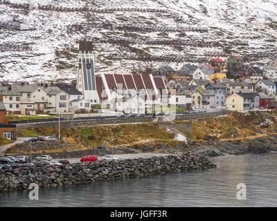Hammerfest church (1961) is the main parish church in Hammerfest municipality, Finnmark County, northern Norway - Stock Image