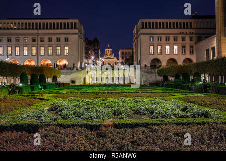 Brussels, Mont des Art at night - Stock Image