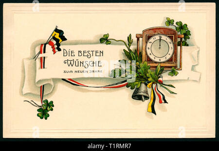 Germany, Thuringia, Schmalkalden, WW I, propaganda, patriotic New Year postcard with the text: 'Best wishes for the new year ', together with an clock, oak leaves, black-white-red ribbon and black-yellow ribbon, postcard sent 29. 12. 1915. , Additional-Rights-Clearance-Info-Not-Available - Stock Image