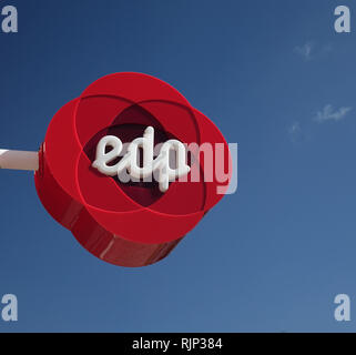 Energias de Portugal Logo Sign Outside Their Shop In Albufeira The Algarve Portugal EDP Are A  Major Electricity Supplier - Stock Image