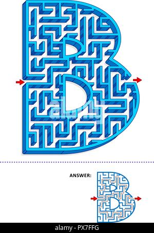 Learning alphabet activity - letter B three-dimensional maze. Use it as is or add fun cartoon characters. Answer included. - Stock Image