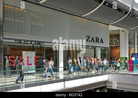 Zara fast fashion shop front window retail store clothing business sale sign Westfield shopping centre mall Stratford Newham East London England UK - Stock Image