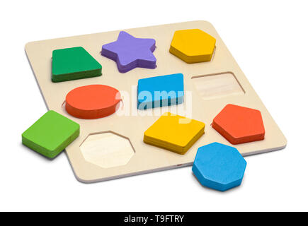 Wood Puzzle with Geometric Shapes Isolated on White Background. - Stock Image