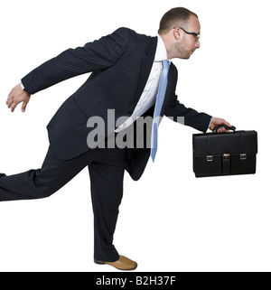 running businessman on isolated background - Stock Image