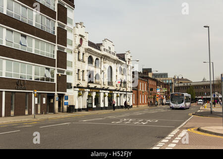 Haymarket Street Bury featuring the Art Picture House building, originally a 1920s cinema now a public house in - Stock Image