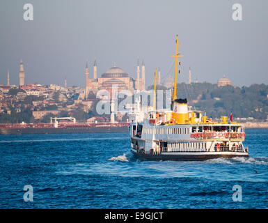 A ferry in Istanbul going from Kadikoy on the Asian side of the Bosphorus to the European side in Turkey - Stock Image