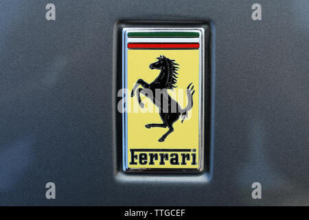 Monte-Carlo, Monaco - June 16 2019: Il Cavallino Rampante Or Little Ferrari Prancing Horse Badge (Logo) On A Luxurious Italian Supercar At Monte-Carlo - Stock Image