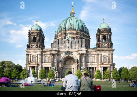 Tourists at Berlin Cathedral (Berliner Dom) on Museum Island in the Mitte district of the German capital city - Stock Image