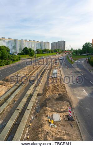 Poznan, Poland - May 24, 2019: Tram track - Stock Image