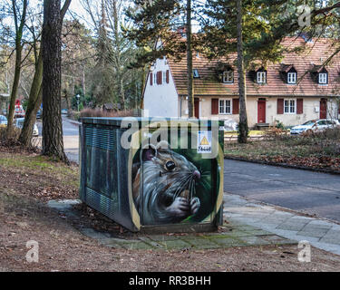 Krumme Lanke , Berlin, Utility box with decorative paintwork - Stock Image
