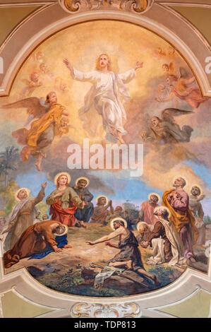 BELAGGIO, ITALY - MAY 10, 2015: The fresco of Ascension of the Lord in church Santa Maria Annunciata (Visgnola) by Luigi Morgari from 20. cent. - Stock Image