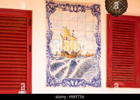 Maritime motif on house, Baia das Gatas, Sao Vicente, Cape Verde Islands - Stock Image