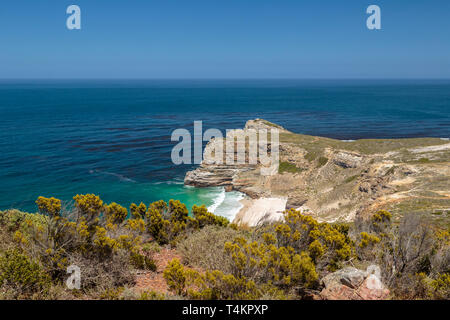 View over Cape of good hope at Cape point with bushes and ocean, Cape point, South Africa - Stock Image