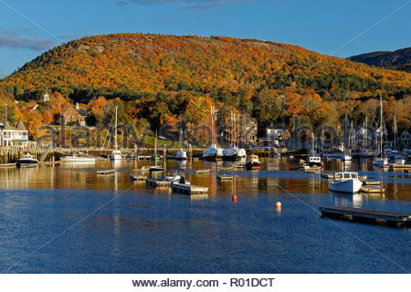 Fall view of Camden, Maine, USA - Stock Image