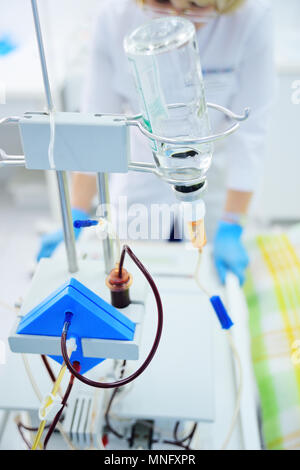 apparatus for blood transfusion on the background of the clinic close-up. - Stock Image