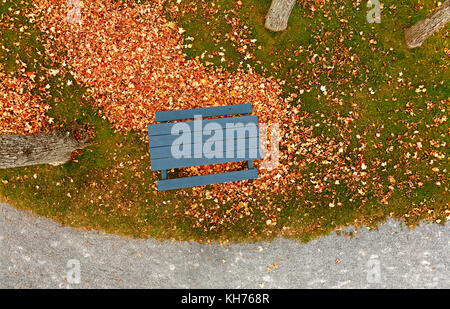 Pole aerial of park walkway with autumn leaves, crushed rock trail, blue picnic table, grass and trees. - Stock Image