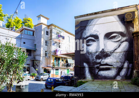 NAPLES, ITALY - JANUARY 17, 2019 - Murales of Demetra by Tono Cruz in rione Sanità - Stock Image