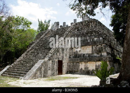 Temple of the Large Tables, Chichen Itza Archaeological Site, Chichen Itza, Yucatan Peninsula, Mexico - Stock Image