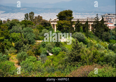 Athens, Greece. View from Areopagus below the Acropolis. The Temple of Hephaestus. - Stock Image