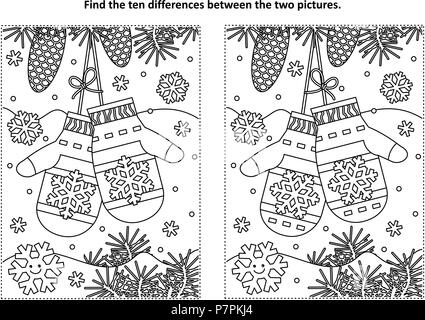 Winter, New Year or Christmas themed find the ten differences picture puzzle and coloring page with Santa's mittens. - Stock Image