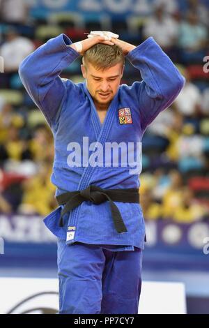 Baku, Azerbaijan. 24th Sep, 2018. Czech judoka David Klammert is seen during a match of men's 90kg class in World Judo Championships at National Gymnastics Arena in Baku, Azerbaijan, on September 24, 2018. Credit: David Svab/CTK Photo/Alamy Live News - Stock Image