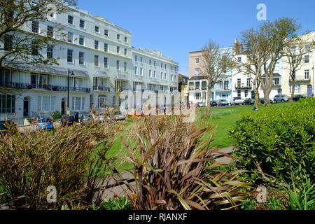 Elegant Georgian town houses in the Regency garden square, Wellington Square, Hastings, East Sussex, UK - Stock Image