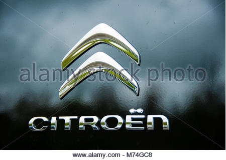 Citroen logo & sign on the front grill of a black Citroen Berlingo combo van, England UK - Stock Image